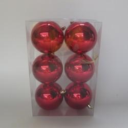 8 cm julekugler blank rød, 6 stk i boks-20