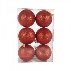 8 cm julekugle, 6 stk i boks, glitter rød-20
