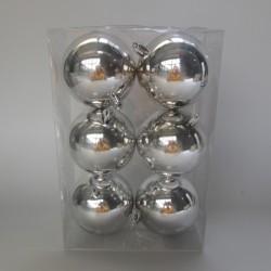 8 cm julekugle, 6 stk i boks, blank sølv-20