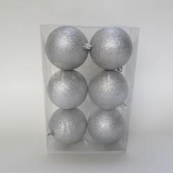 8 cm julekugle, 6 stk i boks, glitter sølv-20