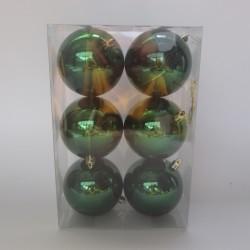 8 cm julekugle, 6 stk i boks, blank grøn-20