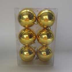 8 cm julekugle, 6 stk i boks, blank guld-20