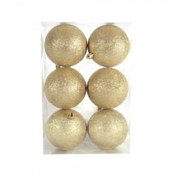 8 cm julekugle, 6 stk i boks, glitter guld-20