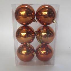 8 cm julekugle, 6 stk i boks, blank orange-20
