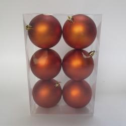 8 cm julekugle, 6 stk i boks, mat orange-20