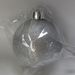 20 cm julekugle, glitter sølv-20