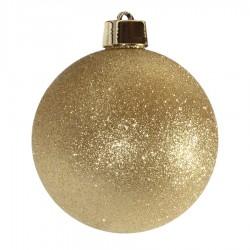 20 cm julekugle, glitter guld-20