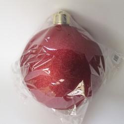 25 cm julekugle, glitter rød-20