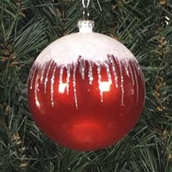 8 cm kugle, perlemor, rød m/sne, hvid og sølv glitter-20