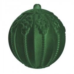 20 cm julekugle med ornamentering, grøn velour-20
