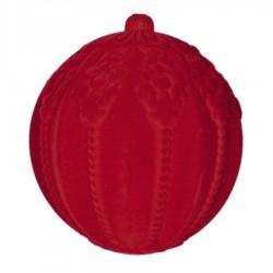 20 cm julekugle med ornamentering, rød velour-20
