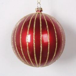 8 cm julekugle, perlemor rød med guld glitter-20