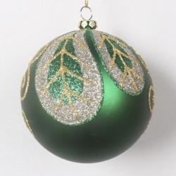 8 cm julekugle, mat grøn med blad-20