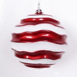 8 cm julekugle, perlemor rød med bølger af hvidt glitter-20