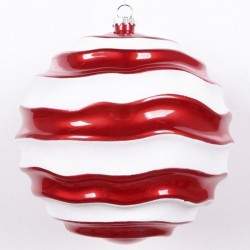 20 cm julekugle, perlemor rød med bølger af hvidt glitter-20