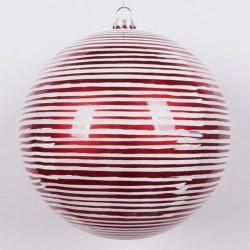 20 cm julekugle, perlemor rød med vandrette penselstriber-20