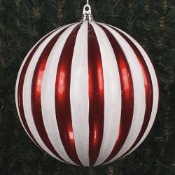 30 cm julekugle, lodrette striber, perlemor rød med hvidt glitter-20