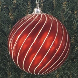 20 cm julekugle, swirl, perlemor rød med hvidt glitter-20