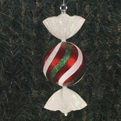 33 cm rundt slik, perlemor rød med hvidt og grønt glitter-20