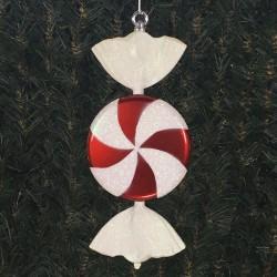 33 cm fladt slik, perlemor rød med hvidt glitter-20