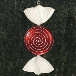 46 cm fladt rundt slik, perlemor rød med hvidt glitter-20