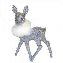 Bambi, 22x15 cm, sølv glitter med hvid pelsboa-20