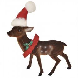 Rensdyr, 40 cm, brun velour med glitter, nissehue, rød sløjfe og kristtjørn-20