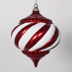 20 cm julekugle, onion, perlemor rød med hvidt glitter-20