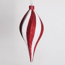 20 cm spiral-top, rød med hvidt glitter-20