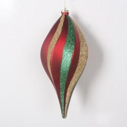 20 cm spiral-top, mat rød med guld og grønt glitter-20