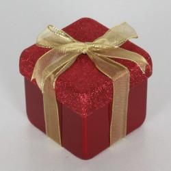 10x10 cm julegave, perlemor rød med rødt glitter og guld sløjfe-20