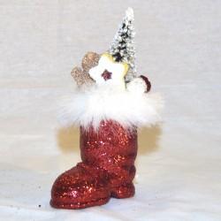 Julemandens støvle, rødt glitter med dekoration, 7 cm + deko-20