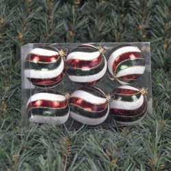 6cmjulekuglerperlemorrdoggrnmedhvidtogguldglitter6stkiboks-20