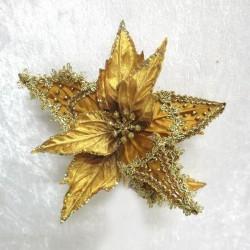 Julestjerne med clip, guld velour med guld dekoration-20