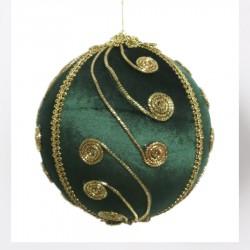 15 cm julekugle, grøn velour med gulddekoration-20