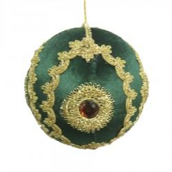 15 cm julekugle, grøn velour med gulddekoration og simili-20