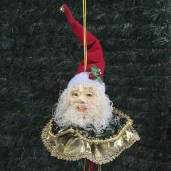 Julemands hoved, ornament med frynser, rød, guld, grøn-20