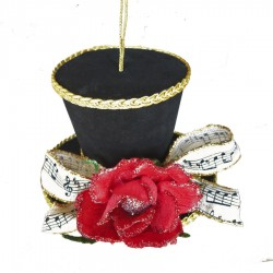 Tophat ornament, 11,5 cm, sort velour med rose og nodebånd-20
