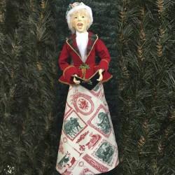 Julesangerinde, dame, 90 cm, rød, grøn og guld-20