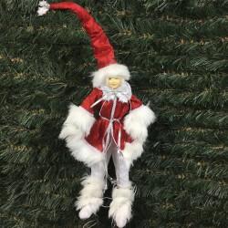 Jule-alf, 40 cm, rød, hvid og sølv-20
