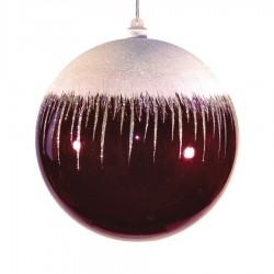 20 cm julekugle, blank, burgundy m/sne-20