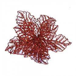 20 cm julestjerne, rødt glitter, med clip-20