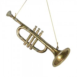 Horn antik guld m/champagne glitter, 25 cm-20