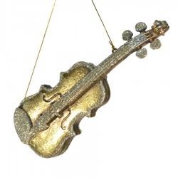 Violin antik guld m/champagne glitter, 25 cm-20
