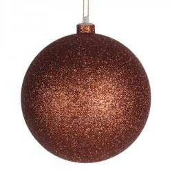 14 cm julekugle, glitter, kobber-20