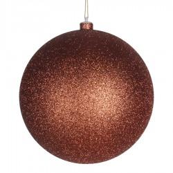 20 cm julekugle, glitter, kobber-20