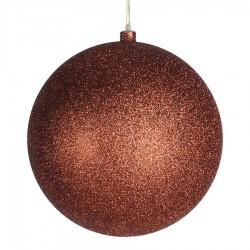 25 cm julekugle, glitter, kobber-20