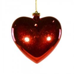 Hjerte, blank rød, 15 cm-20