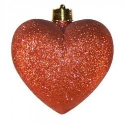 Hjerte, glitter rød, 23 cm-20