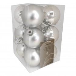 6 cm julekugler, sølv, mat og blank, 12 stk i boks-20